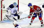 10 April 2010: Montreal Canadiens' right wing forward Brian Gionta is stopped by goalie Jean-Sebastien Giguere during the last game of the regular season against the Toronto Maple Leafs at the Bell Centre in Montreal, Quebec, Canada. The Leafs defeated the Habs 4-3 in sudden death overtime as the Canadiens advance to the Stanley Cup Playoffs with the single point. Mandatory Credit: Ed Wolfstein Photo