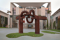 Steel sculpture, 2000, entitled 'Berlin' by Eduardo Chillida, 1924-2002, at the entrance to the German Chancellery or Bundeskanzleramt, a federal agency serving the executive office of the Chancellor, the head of the German federal government, opened 2001, Willy-Brandt-Strasse, Berlin, Germany. The building was designed by Charlotte Frank and Axel Schultes in post-modernist style. Picture by Manuel Cohen
