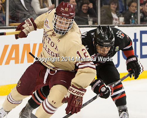 Kevin Hayes (BC - 12), Matt Benning (NU - 5) - The Boston College Eagles defeated the Northeastern University Huskies 4-1 (EN) on Monday, February 10, 2014, in the 2014 Beanpot Championship game at TD Garden in Boston, Massachusetts.
