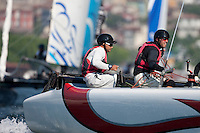 Extreme Sailing Series 2011. Act 3.Turkey . Istanbul.Alinghi helm Yann Guichard and Yves Detrey.Credit: Lloyd Images