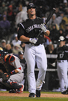 Colorado Rockies left fielder Matt Holliday expresses frustration during an at-bat against the St. Louis Cardinals. Holliday hit a single later in the at-bat.The Cardinals defeated the Rockies 6-5 at Coors Field in Denver, Colorado on May 6, 2008. FOR EDITORIAL USE ONLY. FOR EDITORIAL USE ONLY