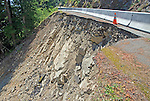 Landslide damaged road section in Mount Rainier National Park, Washington State.