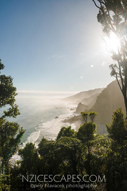 Wild west coast coastline near Punakaiki at sunrise, Paparoa National Park, West Coast, Buller Region, New Zealand, NZ