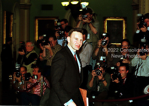 United States House Manager Representative James Rogan (Republican of California) leaves the U.S. Senate Chamber in the U.S. Capitol in Washington, D.C. after the Senate vote acquitting President Clinton on February 12, 1999..Credit: Ron Sachs / CNP