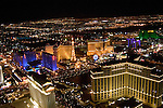 Aerial night shot of Las Vegas Strip, Nevada, NV, Las Vegas Strip, city at night, nightscape, aerial, Photo nv248-17004..Copyright: Lee Foster, www.fostertravel.com, 510-549-2202,lee@fostertravel.com