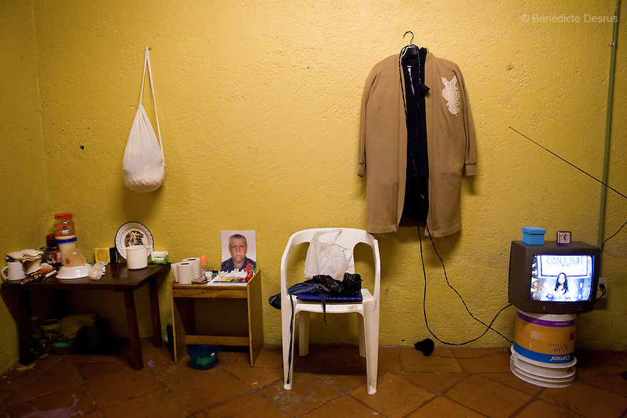The personal belongings of Canela, a resident of Casa Xochiquetzal, in her bedroom in Mexico City, Mexico on July 29, 2008. Casa Xochiquetzal is a shelter for elderly sex workers in Mexico City. It gives the women refuge, food, health services, a space to learn about their human rights and courses to help them rediscover their self-confidence and deal with traumatic aspects of their lives. Casa Xochiquetzal provides a space to age with dignity for a group of vulnerable women who are often invisible to society at large. It is the only such shelter existing in Latin America. Photo by Bénédicte Desrus