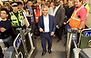 Sadia Khan at London&rsquo;s Night Tube launch at Brixton tube station, London, Great Britain <br /> 19th August 2016 <br /> <br /> The mayor touches his oyster card on the card reader to enter the station to board the first ever night tube <br /> <br /> Sadia Khan, mayor of London,  launched the first night tube service and travelled on a tube train between Brixton and Walthamstow on the Victoria Line. <br />  <br /> He launched the first 24 hour Friday and Saturday night services on the Central and Victoria lines <br /> <br /> Photograph by Elliott Franks <br /> Image licensed to Elliott Franks Photography Services