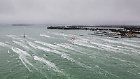 NEW ZEALAND. 11th March 2012. Volvo Ocean Race Leg 4. Leg finish Auckland. Team Telefonica (blue) and Camper with Emirates Team NZ (red).