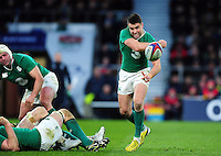 Conor Murray of Ireland passes the ball. RBS Six Nations match between England and Ireland on February 27, 2016 at Twickenham Stadium in London, England. Photo by: Patrick Khachfe / Onside Images