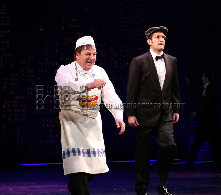 "Jim Borstelmann and James Moye during the Broadway Opening Night Performance Curtain Call for ''Bullets Over Broadway'""at the St. James Theatre on April 10, 2014 in New York City."