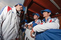 17 August 2010: Thomas Dourlens talks to Jonathan Dechelle and Eloi Secleppe during the Czech Republic 4-3 win over France, at the 2010 European Championship, under 21, in Brno, Czech Republic.