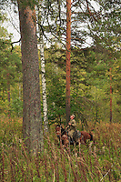 Sabit Galin on horseback at the foot of an immense pine. The honey trees for a family are used for 200 to 300 years.