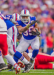 9 November 2014: Buffalo Bills running back Bryce Brown takes a shovel pass to the 3 hardline for an 8-yard gain in the third quarter against the Kansas City Chiefs at Ralph Wilson Stadium in Orchard Park, NY. The Chiefs rallied with two fourth quarter touchdowns to defeat the Bills 17-13. Mandatory Credit: Ed Wolfstein Photo *** RAW (NEF) Image File Available ***
