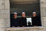 Religious Druze youth during a pro-Syrian demonstration on the Syrian independence day, in Majdal Shams, Golan Heights, close to Israel-Syria border.
