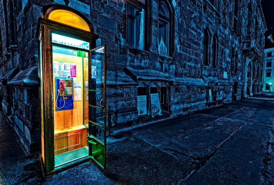HDR photo of a phone booth taken in Budapest, Hungary in March 2011.