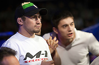 Moscow, Russia, 05/06/2010..Coaches watch their fighter at the new Fight Nights boxing tournament, including kick-boxing, boxing and mixed fighting.
