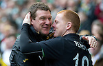 Celtic v St Johnstone....01.04.12   SPL.Saints asst boss Tommy Wright is greeted by hisfellow ulsterman Neil Lennon.Picture by Graeme Hart..Copyright Perthshire Picture Agency.Tel: 01738 623350  Mobile: 07990 594431