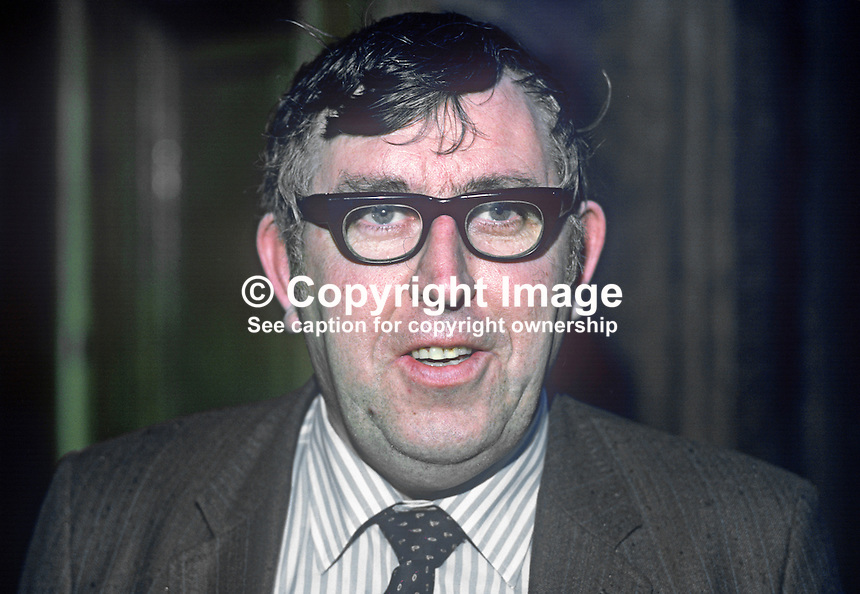 Jim Kemmy, TD, Independent Socialist, March 1982, 19820300057JK.<br /> <br /> Copyright Image from Victor Patterson, 54 Dorchester Park, Belfast, UK, BT9 6RJ<br /> <br /> t1: +44 28 9066 1296 (from Rep of Ireland 048 9066 1296)<br /> t2: +44 28 9002 2446 (from Rep of Ireland 048 9002 2446)<br /> m: +44 7802 353836<br /> <br /> e1: victorpatterson@me.com<br /> e2: victorpatterson@gmail.com<br /> <br /> The use of my copyright images is subject to my Terms &amp; Conditions.<br /> <br /> It is IMPORTANT that you familiarise yourself with them. They are available on my website at www.victorpatterson.com.<br /> <br /> None of my copyright images may be used on a website unless they are visibly watermarked, i.e. &copy; Victor Patterson within the body of the visible image. Metadata denoting my copyright must NOT be deleted. <br /> <br /> Web use is extra at currently recommended NUJ rates.