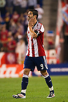 Juan Pablo Angel (9) of CD Chivas USA. The New York Red Bulls and CD Chivas USA played to a 1-1 tie during a Major League Soccer (MLS) match at Red Bull Arena in Harrison, NJ, on May 23, 2012.