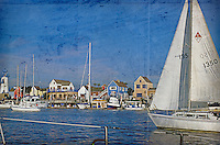 Fisherman's Village Marina Del Rey CA   Fine Art Photograph, Digital oil painted texture,  Beautiful, Unique
