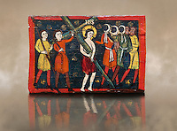 Romanesque painted Beam depicting The Passion and the Stations of the Cross<br /> <br /> Around 1192-1220, Tempera on wood from Catalonia, Spain.<br /> <br /> Acquisition of Museums Board's campaign in 1907. MNAC 15833.<br /> <br /> It is not known what was the original location of the beam, but it might have been part of the structure of a canopy. In any case, it was reused in a ceiling, as evidenced by the cuts that are at the top. It is decorated with seven scenes from the Passion and Resurrection of Christ, this one shows Christ carrying the Cross on the road to Calvary. The narrative character in the images and the predominance of yellow is typical of Catalan painting of the 1200&rsquo;s,  specifically with illustrations of Liber Feudorum Maior, a late twelfth-century illuminated cartulary book style of the Crown of Aragon