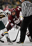 22 November 2011: University of Massachusetts Minutemen forward Branden Gracel, a Sophomore from Calgary, Alberta, in action against the University of Vermont Catamounts at Gutterson Fieldhouse in Burlington, Vermont. The Catamounts defeated the Minutemen 2-1 in their annual pre-Thanksgiving meeting of the Hockey East season. Mandatory Credit: Ed Wolfstein Photo
