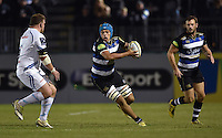 Zach Mercer of Bath Rugby in possession. West Country Challenge Cup match, between Bath Rugby and Exeter Chiefs on October 10, 2015 at the Recreation Ground in Bath, England. Photo by: Patrick Khachfe / Onside Images
