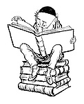 (Old man perched on pile of books, reading-Mr Punch?)