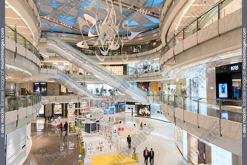 IFC shopping mall modern interior in Shanghai, China 2014