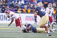 Annapolis, MD - December 3, 2016: Temple Owls running back Ryquell Armstead (25) gets tackled during game between Temple and Navy at  Navy-Marine Corps Memorial Stadium in Annapolis, MD.   (Photo by Elliott Brown/Media Images International)