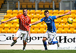 St Johnstone v Blackpool...25.07.15  McDiarmid Park, Perth.. Pre-Season Friendly<br /> Graham Cummins holds off Lloyd Jones<br /> Picture by Graeme Hart.<br /> Copyright Perthshire Picture Agency<br /> Tel: 01738 623350  Mobile: 07990 594431