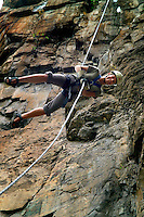 LIVINGSTONE, VICTORIA FALLS, ZAMBIA, DECEMBER 2004. Abseiling and rap jumping are popular adrenaline sports in Vic Falls. Victoria falls on the border between Zambia and Zimbabwe is the outdoor adventure capital of Africa. Photo by Frits Meyst/Adventure4ever.com