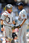 26 August 2007:  Washington Nationals catcher Jesus Flores (left) discusses strategies with pitcher Jesus Colome during a game against the Colorado Rockies at Coors Field in Denver, Colorado. The Rockies defeated the Nationals 10-5 to sweep the 3-game series...Mandatory Photo Credit: Ed Wolfstein Photo