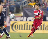 Second half substitute Chicago Fire midfielder Daniel Paladini (11) passes the ball. In a Major League Soccer (MLS) match, the New England Revolution tied the Chicago Fire, 1-1, at Gillette Stadium on June 18, 2011.