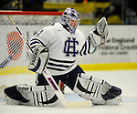29 December 2007: Holy Cross Crusaders' goaltender Ian Dams, a Sophomore from Manotick, Ontario, warms up prior to a game against the University of Vermont Catamounts at Gutterson Fieldhouse in Burlington, Vermont. The Catamounts rallied in the final seconds of play to tie the game 1-1. After overtime, although the official result remained a tie game, the Cats moved up to the championship round by winning a sudden death shootout in the second game of the Sheraton/TD Banknorth Catamount Cup Tournament...Mandatory Photo Credit: Ed Wolfstein Photo