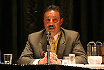 """17 January 2004: WUSA Commissioner Tony DiCicco during a panel discussion titled """"Can Women's Professional Soccer Survive in America"""" at the Charlotte Convention Center in Charlotte, NC as part of the annual National Soccer Coaches Association of America convention.."""