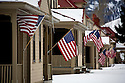 WY00463-00...WYOMING - American flags along Historic Fort Yellowstone in the Mammoth Hot Springs area of Yellowstone National Park.