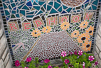 A mosaic on a building in the Red Hook neighborhood of Brooklyn in New York on Sunday, July 29, 2012. (© Richard B. Levine)