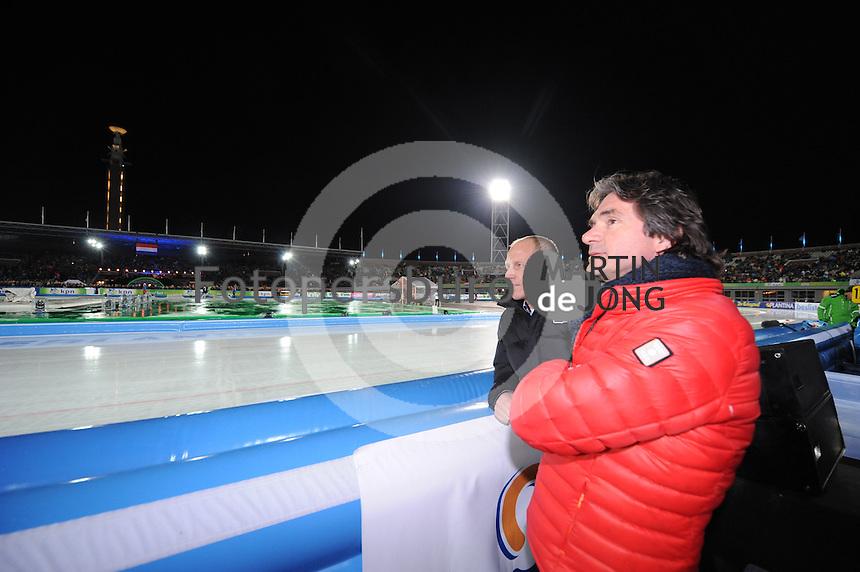 SCHAATSEN: AMSTERDAM: Olympisch Stadion, 01-03-2014, KPN NK Sprint/Allround, Coolste Baan van Nederland, Rintje Ritsma (initiatiefnemer) en Hein Vergeer, ©foto Martin de Jong
