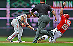 20 May 2012: Baltimore Orioles infielder Robert Andino gets Ian Desmond out at second during action against the Washington Nationals at Nationals Park in Washington, DC. The Nationals defeated the Orioles 9-3 to salvage the third game of their 3-game series. Mandatory Credit: Ed Wolfstein Photo