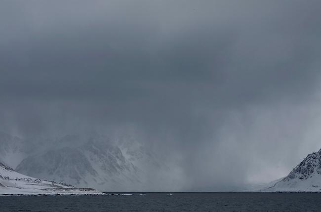 Snow flurry just south of Danskoya. Northern Spitsbergen