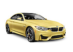Gold 2015 BMW M4 Coupe performance car isolated on white background with clipping path