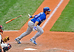 14 September 2008: Kansas City Royals' infielder Mike Aviles hits a single to lead off the 8th inning against the Cleveland Indians at Progressive Field in Cleveland, Ohio. The Royal defeated the Indians 13-3 to take the 4-game series three games to one...Mandatory Photo Credit: Ed Wolfstein Photo