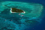 Aerial view of Green Island - a coral cay near Cairns.  Great Barrier Reef Marine Park, Queensland, Australia