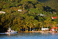 Local fishing boat pulls up to dock on Raiatea