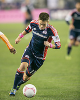 New England Revolution midfielder Kelyn Rowe (11).  The New England Revolution played to a 1-1 draw against the Houston Dynamo during a Major League Soccer (MLS) match at Gillette Stadium in Foxborough, MA on September 28, 2013.