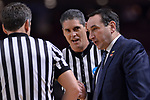 GREENVILLE, SC - MARCH 19: Head coach Mike Krzyzewski of Duke University talks to game officials during the 2017 NCAA Men's Basketball Tournament held at Bon Secours Wellness Arena on March 19, 2017 in Greenville, South Carolina. (Photo by Grant Halverson/NCAA Photos via Getty Images)