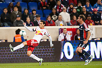 Fabian Espindola (9) of the New York Red Bulls. The New York Red Bulls defeated the New England Revolution 4-1 during a Major League Soccer (MLS) match at Red Bull Arena in Harrison, NJ, on March 20, 2013.