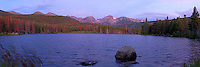 Panorama view of Sprague Lake with soft alpenglo light. Rocky Mountain National Park, Colorado.