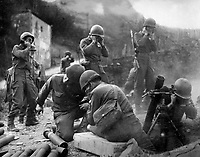 &quot;Getting across the Rhine wasn't all there was to it.  There was the little matter of establishing a beachhead.  We threw our mortars at them and everything else we had untill they finally gave away.&quot;  1945.  Army. (OWI)<br /> Exact Date Shot Unknown<br /> NARA FILE #:  208-YE-133<br /> WAR &amp; CONFLICT BOOK #:  1085